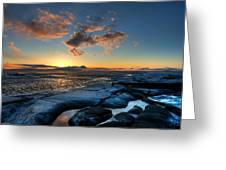 Winter Sunset Greeting Card by Micael  Carlsson