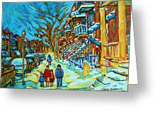 Winter  Walk In The City Greeting Card by Carole Spandau