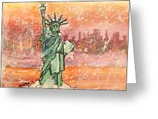 Winter With Lady Liberty Greeting Card by Shana Rowe