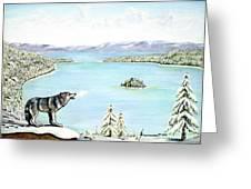 Wolf At Lake Tahoe Greeting Card by Jerome Stumphauzer