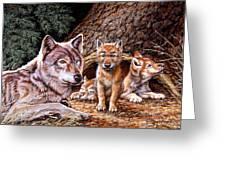 Wolf Den Greeting Card by Richard De Wolfe