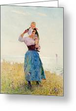 Woman And Child In A Meadow Greeting Card by Hector Caffieri