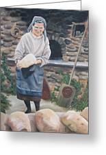 Woman Baking Bread  Greeting Card by Anna Poelstra Traga