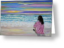 Woman By The Sea Greeting Card by Phyllis Kaltenbach