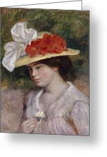 Woman In A Flowered Hat Greeting Card by Pierre Auguste Renoir