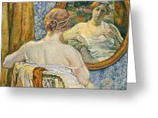 Woman In A Mirror Greeting Card by Theo van Rysselberghe