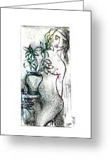 Woman In Waiting Greeting Card by Lillian Michi Adams