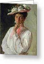 Woman In White Greeting Card by William Merritt Chase