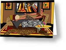 Woman On A Chaise Lounge Greeting Card by Jann Paxton