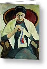 Woman Sewing Greeting Card by August Macke