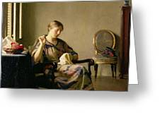 Woman Sewing Greeting Card by William McGregor Paxton