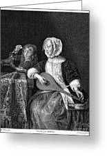 Woman Tuning A Lute Greeting Card by Granger