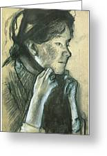Woman Tying The Ribbons Of Her Hat Greeting Card by Edgar Degas