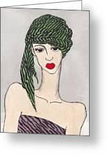 Woman Wearing A Turban Greeting Card by Dorrie Ratzlaff