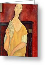 Woman With A Fan Greeting Card by Amedeo Modigliani