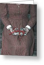 Woman With Old Photos Greeting Card by Joana Kruse