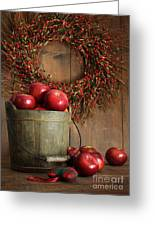 Wood Bucket Of Apples For The Holidays Greeting Card by Sandra Cunningham