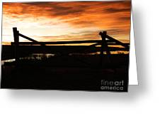 Wood Fence Sunrise Greeting Card by Sara  Mayer