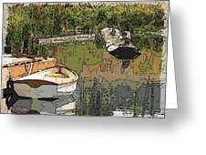 Wooden Boat Placid Greeting Card by Tim Allen