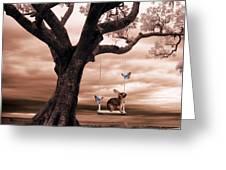 Woodland Swing Greeting Card by Sharon Lisa Clarke
