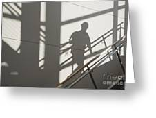 Workers Shadow In A Stairwell Greeting Card by Andersen Ross