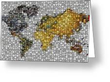 World Map Coin Mosaic Greeting Card by Paul Van Scott