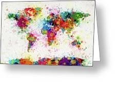 World Map Paint Drop Greeting Card by Michael Tompsett