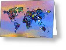 World Peace Tye Dye Greeting Card by Bill Cannon