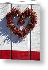 Wreath Heart On Wood Wall Greeting Card by Garry Gay