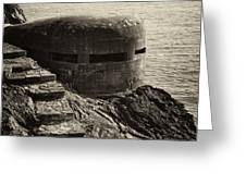 WWII Pill Box Greeting Card by Leslie Leda