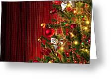 Xmas tree on red Greeting Card by Carlos Caetano