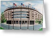 Yankee Stadium Greeting Card by Paul Cubeta