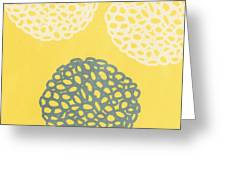 Yellow And Gray Garden Bloom Greeting Card by Linda Woods