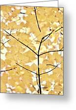 Yellow Brown Leaves Melody Greeting Card by Jennie Marie Schell