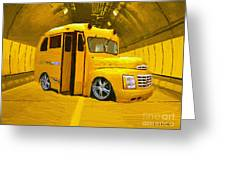 Yellow Bus Greeting Card by Jerry L Barrett