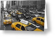 Yellow Cabs NY Greeting Card by Melanie Viola