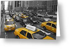 Yellow Cabs Ny Greeting Card by Melanie Viola