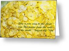 Yellow Hydrangea Isaiah 42v10 Greeting Card by Linda Phelps