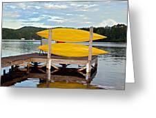 Yellow Kayaks Greeting Card by Susan Leggett