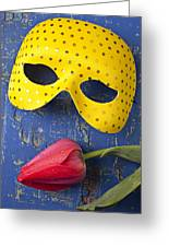 Yellow Mask And Red Tulip Greeting Card by Garry Gay