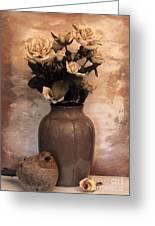 Yellow Tinted Roses Greeting Card by Marsha Heiken