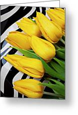 Yellow Tulips On Striped Plate Greeting Card by Garry Gay