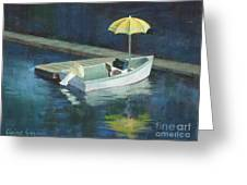 Yellow Umbrella Greeting Card by Claire Gagnon