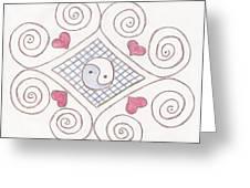 Yin Yang Swirls Pastel Greeting Card by Jeannie Atwater Jordan Allen