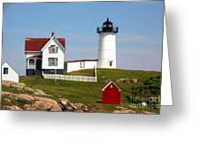 York Harbor  Nubble Lighthouse Greeting Card by Freda Sbordoni
