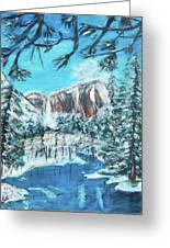 Yosemite In Winter Greeting Card by Carolyn Donnell