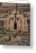 Young Buddhist Monks Near A Ruined Greeting Card by Paul Chesley