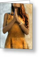 Young Woman Praying Greeting Card by Jill Battaglia