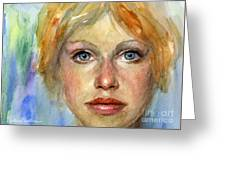 Young Woman Watercolor Portrait Painting Greeting Card by Svetlana Novikova
