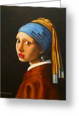Young Woman With Pearl Earring Greeting Card by Hugo Palomares